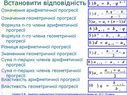 План конспект з алгебри 9кл по тем сума n перших член в арифметично прогрес